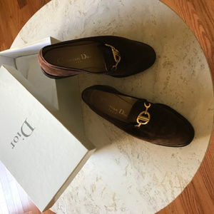 Dior real suede flat loafers